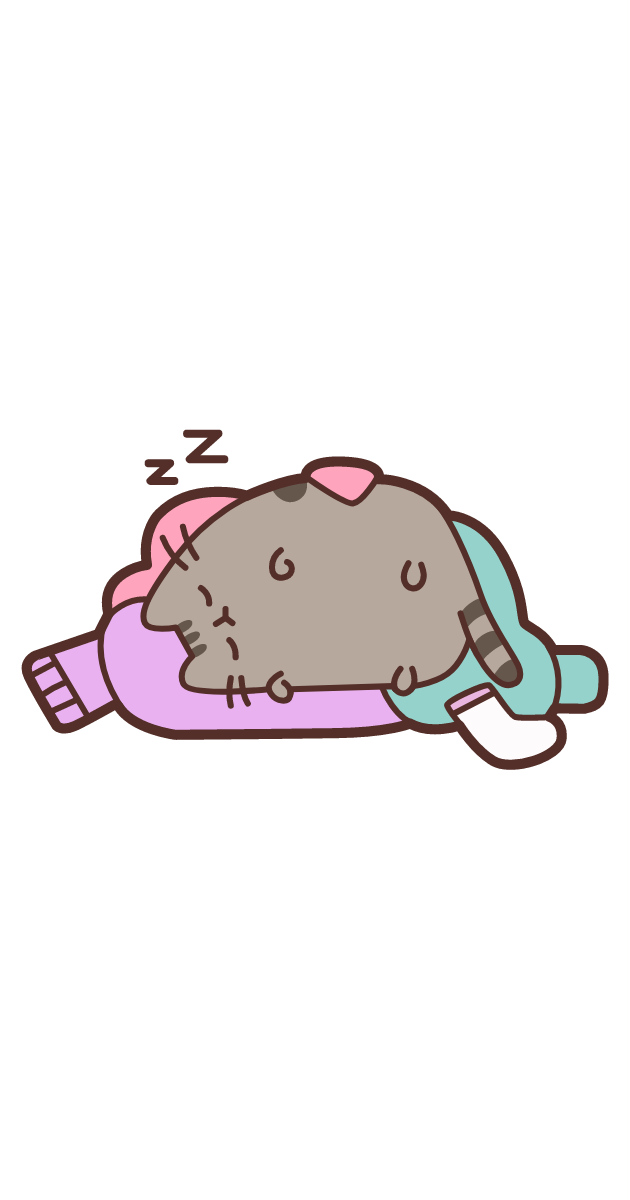 Sleeping Pusheen on a Pile of Сlothes Sticker