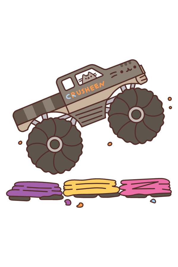 Pusheen Monster Trucks Sticker
