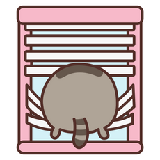 Pusheen Behind the Blinds Sticker