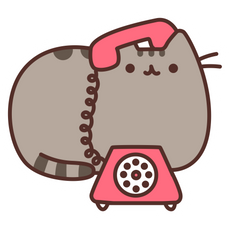 Pusheen Talking on a Landline Phone Sticker