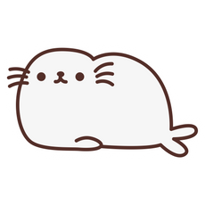 Pusheen White Seal Sticker