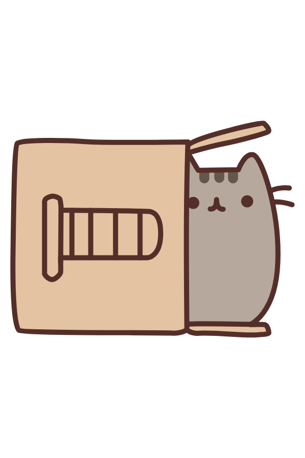 Pusheen in Scratch Post Box Sticker