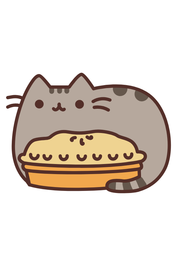 Pusheen and a Pie Sticker
