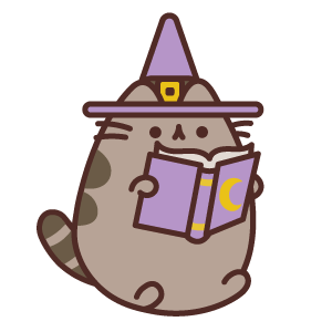 Witch Pusheen Reading Magical Book