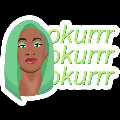 Cardi B Green Hair Okurrr Sticker