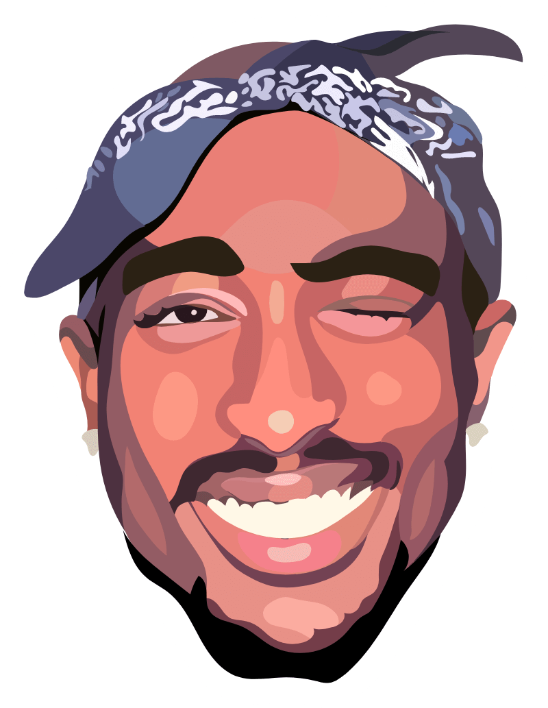 Smiling Tupac Shakur Sticker