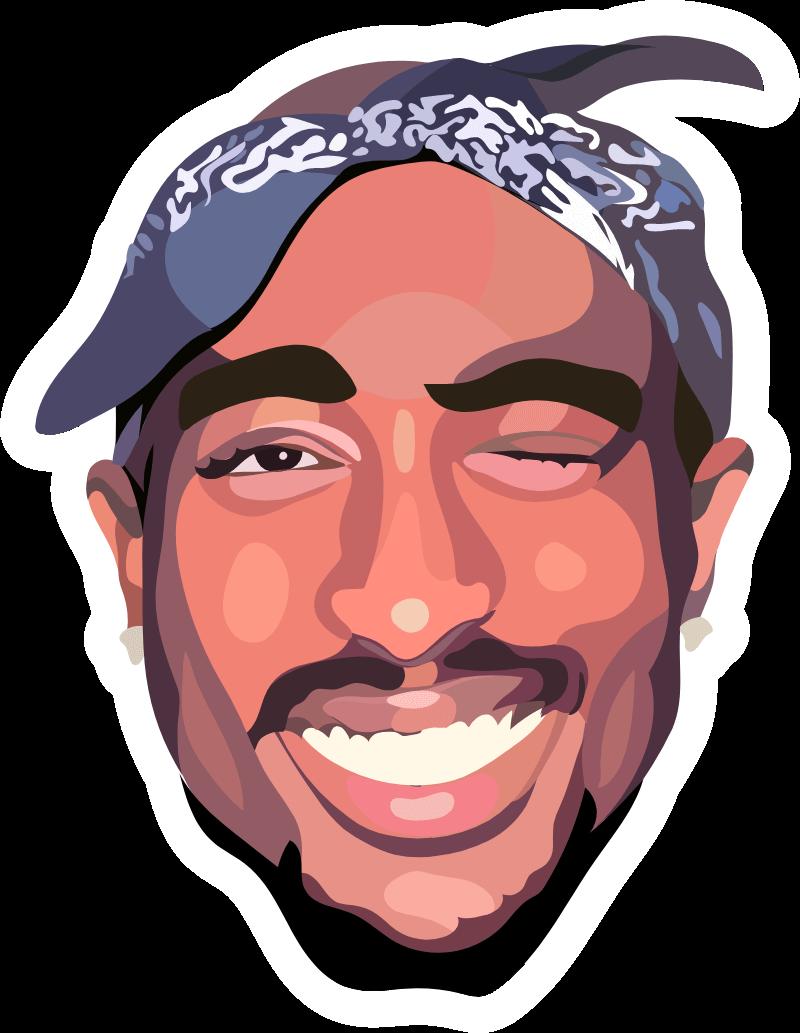 Smiling Tupac Shakur Sticker
