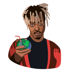 cool and cute Juice Wrld with Earth Planet Juice for stickermania