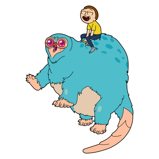 Rick and Morty Morty Riding Beebo Sticker