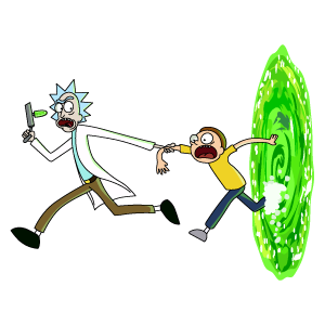 Rick and Morty Run Out of the Portal
