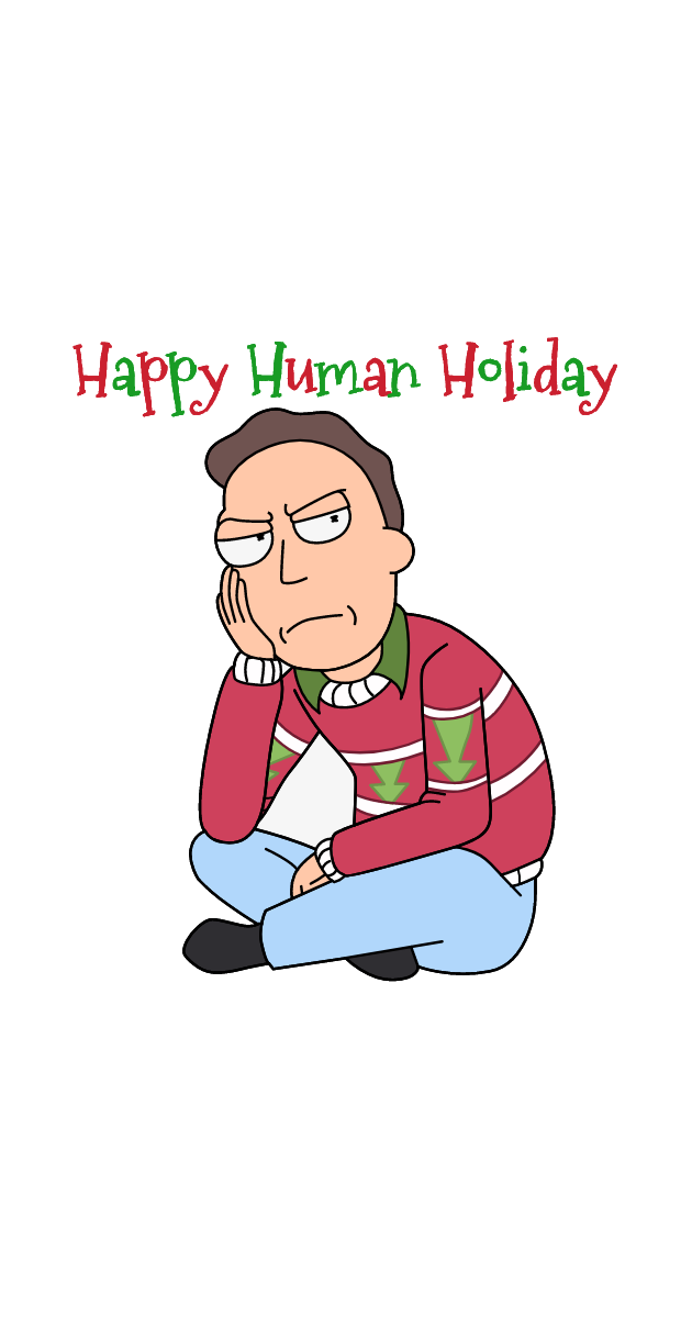 Rick and Morty Jerry Happy Human Holiday Sticker