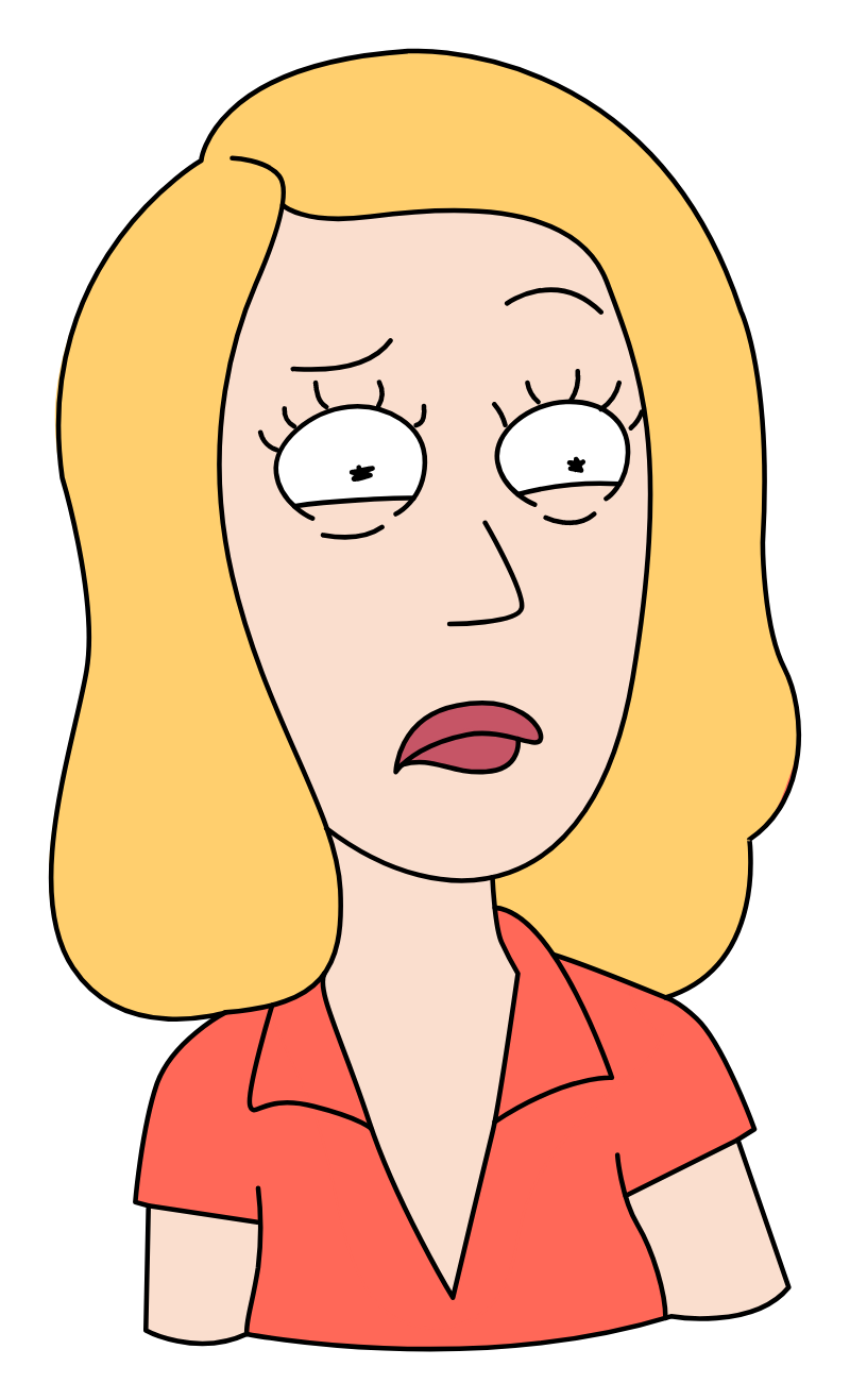 Rick and Morty Beth Smith Confused Sticker