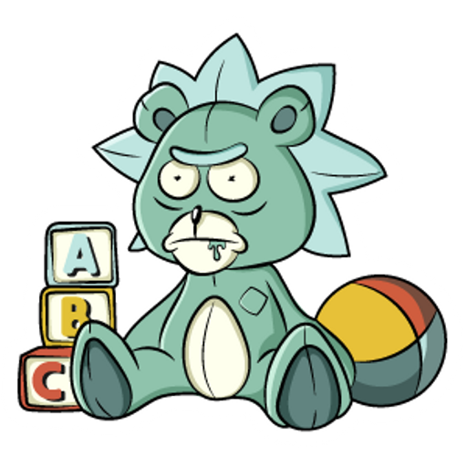 Rick and Morty Teddy Rick Sticker