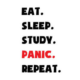 Eat Sleep Study Panic Repeat Sticker