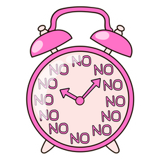 Pink Alarm Clock Don't Want to Wake Up Sticker