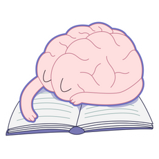 Tired Brain Sleeps on Book Sticker
