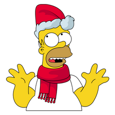 Homer Simpson in Santa Hat Sticker