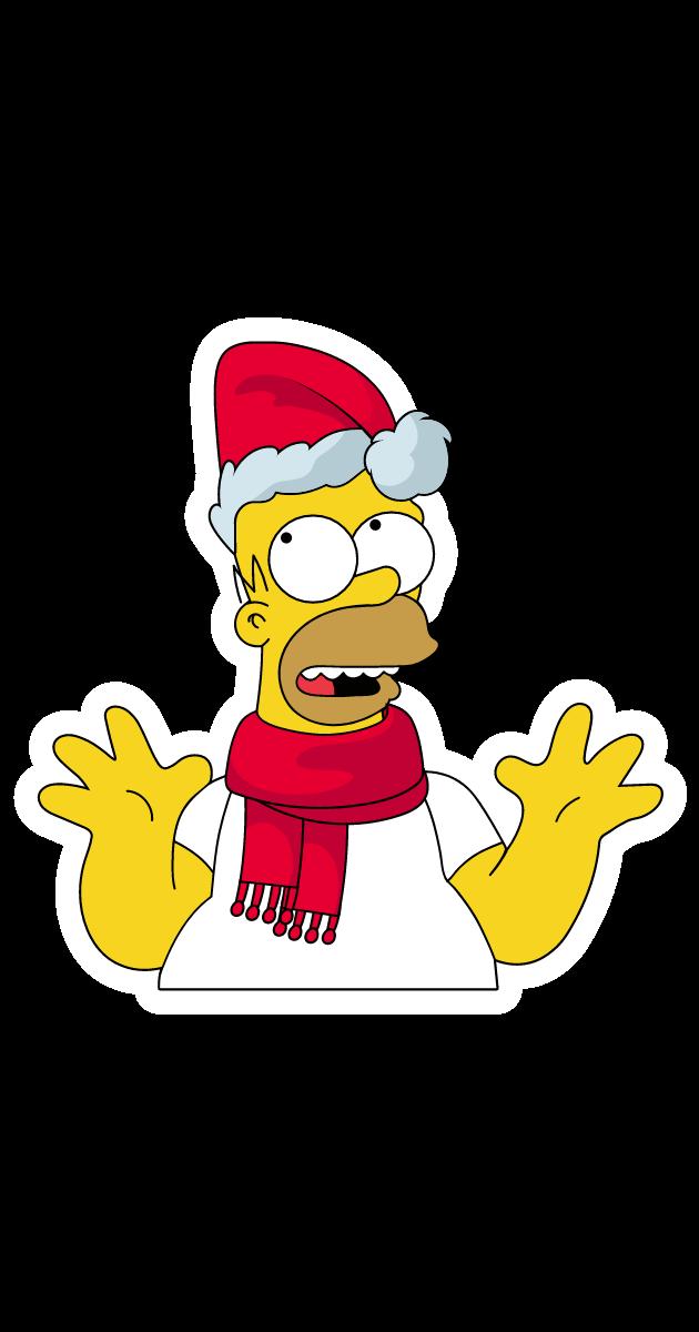 Homer Simpson in Santa Hat Sticker