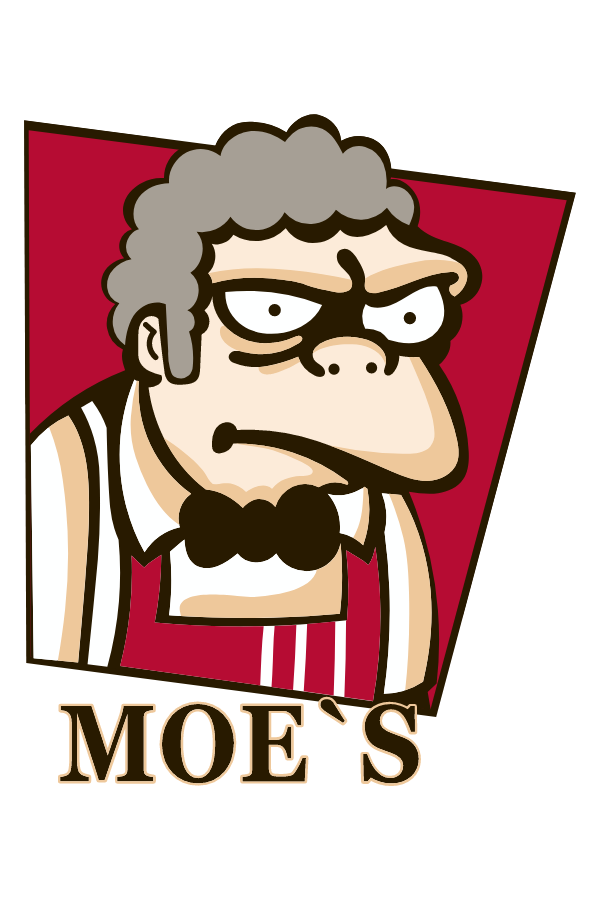 The Simpsons Moe's KFC Logo Sticker
