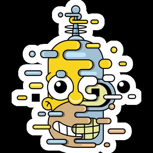 The Simpsons Homer Bender Sticker