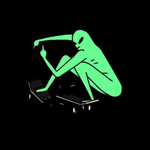 Alien Breaks Skateboard Deck Sticker