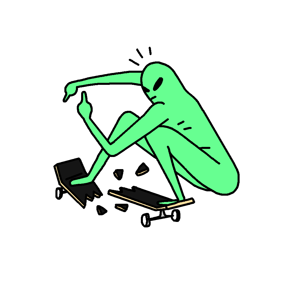 Alien Breaks Skateboard Deck Sticker