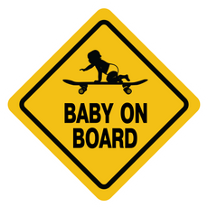 Baby on Board Skateboard Road Sign Sticker