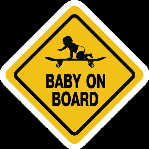 Baby on Board Skateboard Road Sign Sticker