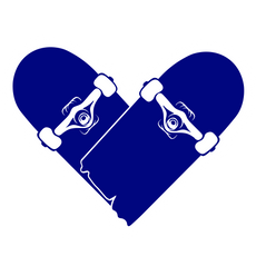 Broken Skateboard Heart Sticker