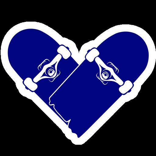 Broken Skateboard Heart Sticker
