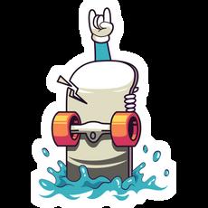 Floating Skateboard and Rock Hand Sticker