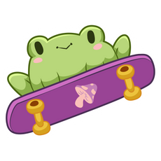 Frog on Skateboard Sticker