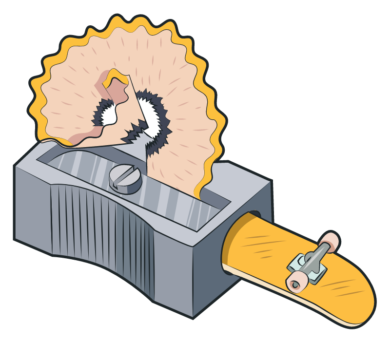 Pencil Sharpener with Skateboard Sticker
