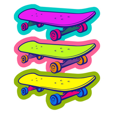 Pop Art Style Skateboard Sticker