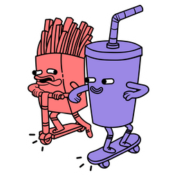Riding Soft Drink and French Fries Sticker