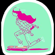 Skater Girl on Mint Background Sticker