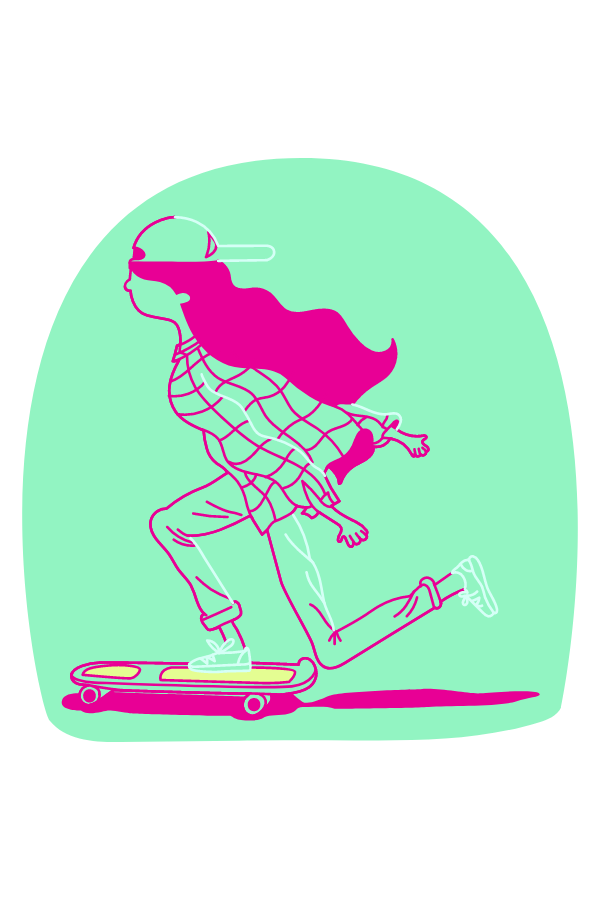Skater Girl on Mint Background Sticker