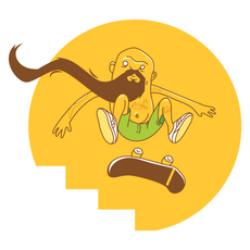 Yellow Bearded Skater Sticker
