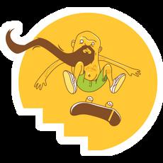 Yellow Bearded Skater Sticker