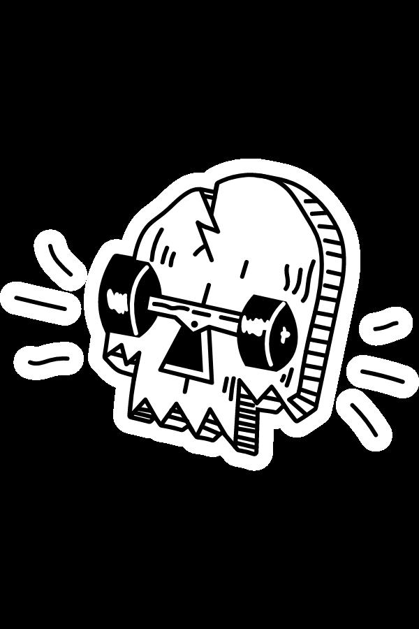 Skull Skateboard Sticker