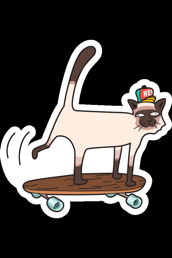 Cat on a Skateboard Sticker