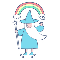 Wizard on Skateboard Sticker