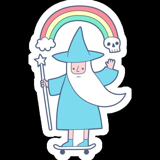 Wizard on Skateboard Sticker