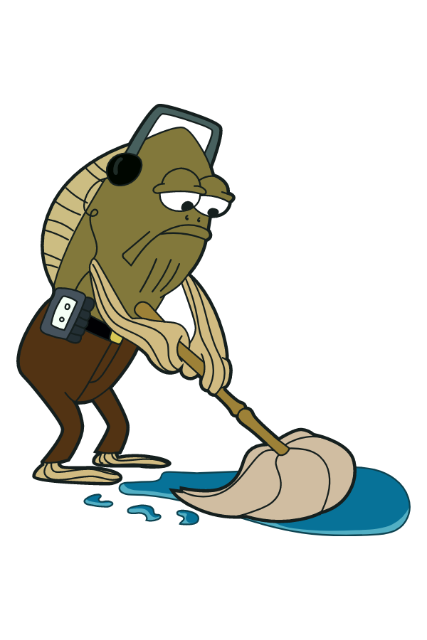 Fred the Fish Mopping Meme Sticker