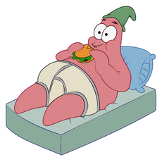 Patrick Star Eating Burger Sticker