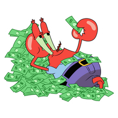 SpongeBob Mr. Krabs Lies in Money Sticker