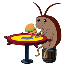SpongeBob Cockroach Eating Krabby Patty Sticker