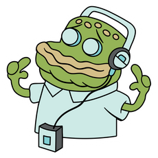 SpongeBob Old Man Jenkins Listen to Music Sticker