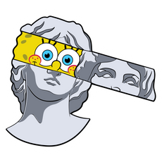 SpongeBob Greek Statue Sticker