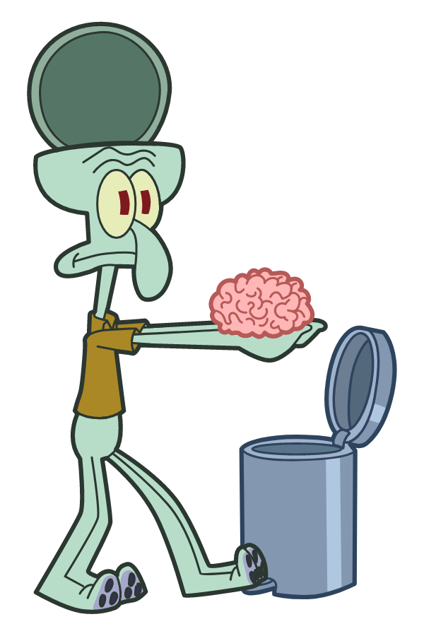 Squidward Throws Brain Away Sticker